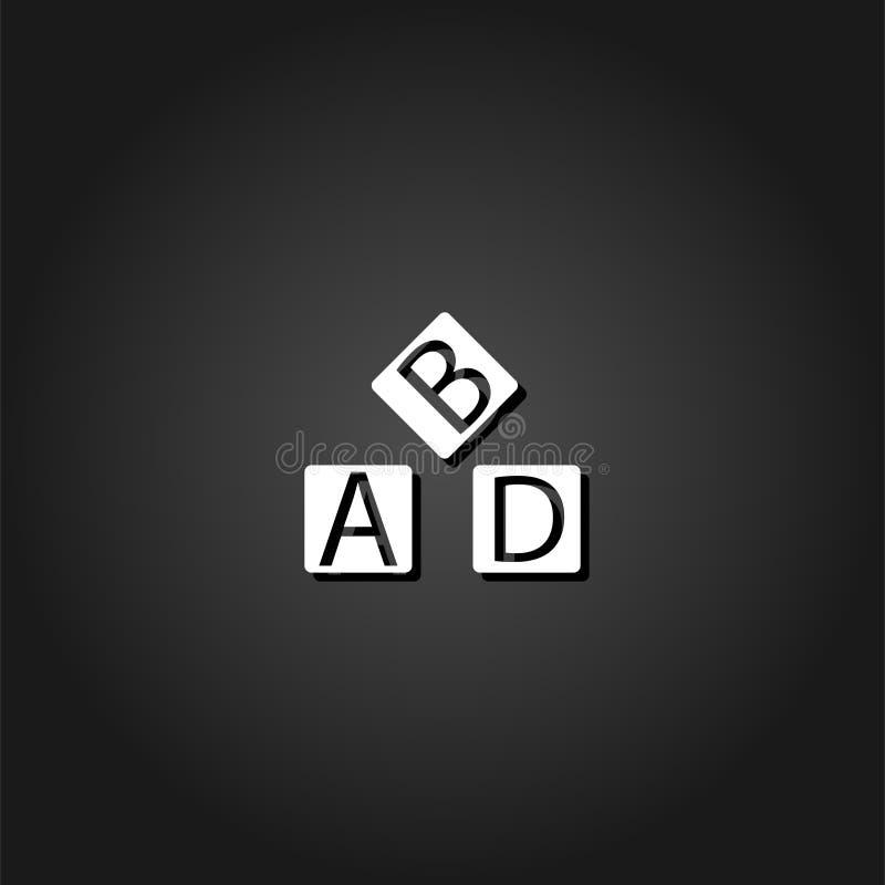 Значок кубов алфавита плоско бесплатная иллюстрация