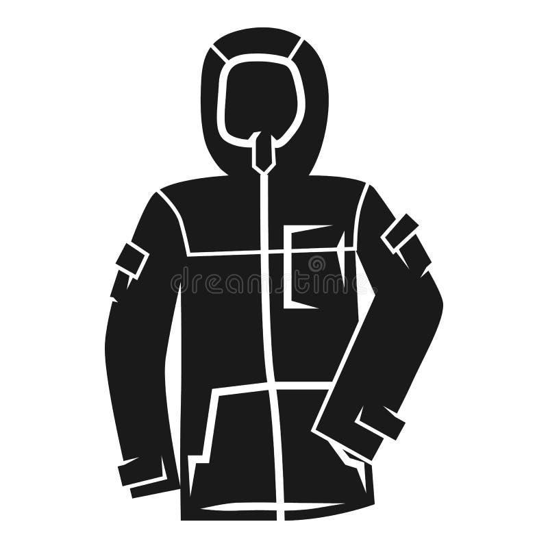 Значок куртки лыжи зимы, простой стиль иллюстрация вектора