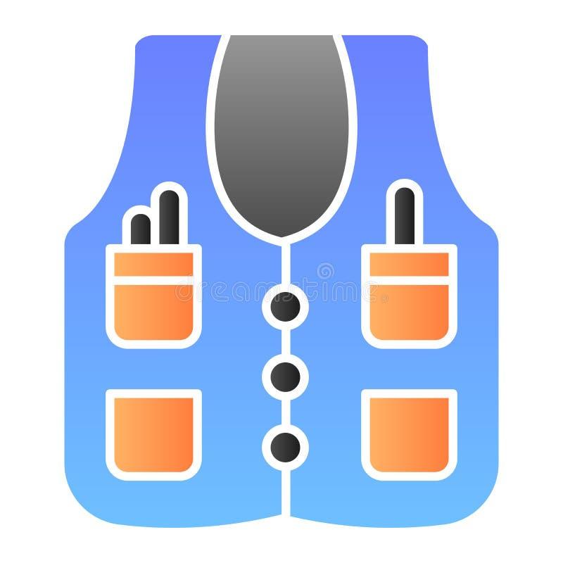 Значок куртки работника плоский Куртка паяя значки цвета в ультрамодном плоском стиле Конструированный дизайн стиля градиента раб бесплатная иллюстрация