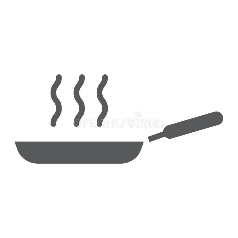 Значок, кухня и варить глифа сковороды, фрай иллюстрация штока