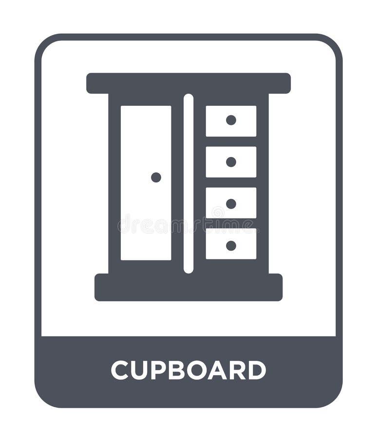 значок кухонного шкафа в ультрамодном стиле дизайна значок кухонного шкафа изолированный на белой предпосылке квартира значка век иллюстрация штока