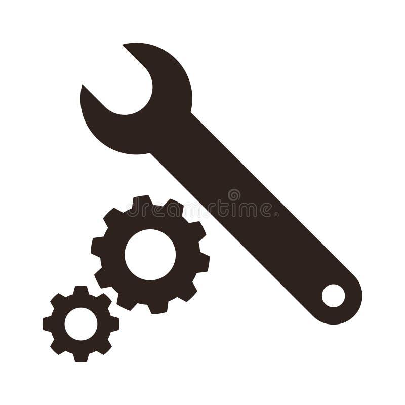 Значок ключа и шестерней иллюстрация вектора