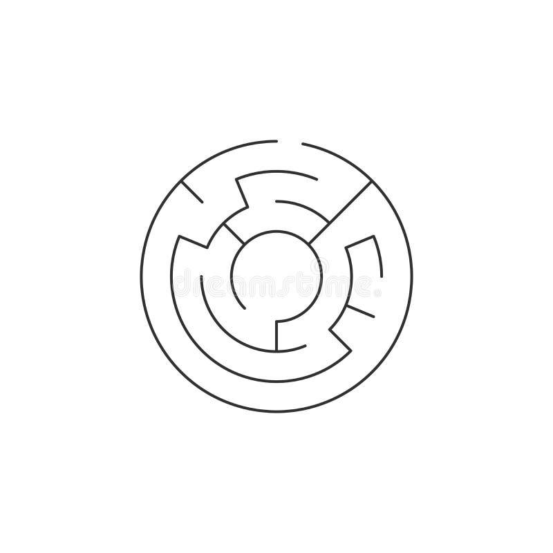 значок лабиринта круга, иллюстрация вектора изолированная на белой предпосылке иллюстрация штока