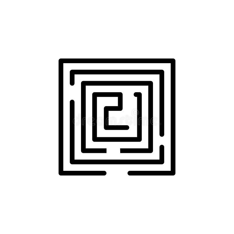 Значок лабиринта Элемент minimalistic значков для передвижных apps концепции и сети Тонкая линия значок для дизайна и развития ве иллюстрация вектора