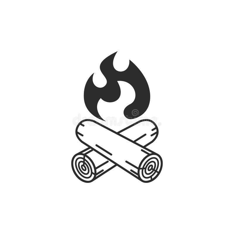 Значок лагерного костера графический Располагаясь лагерем символ иллюстрация вектора
