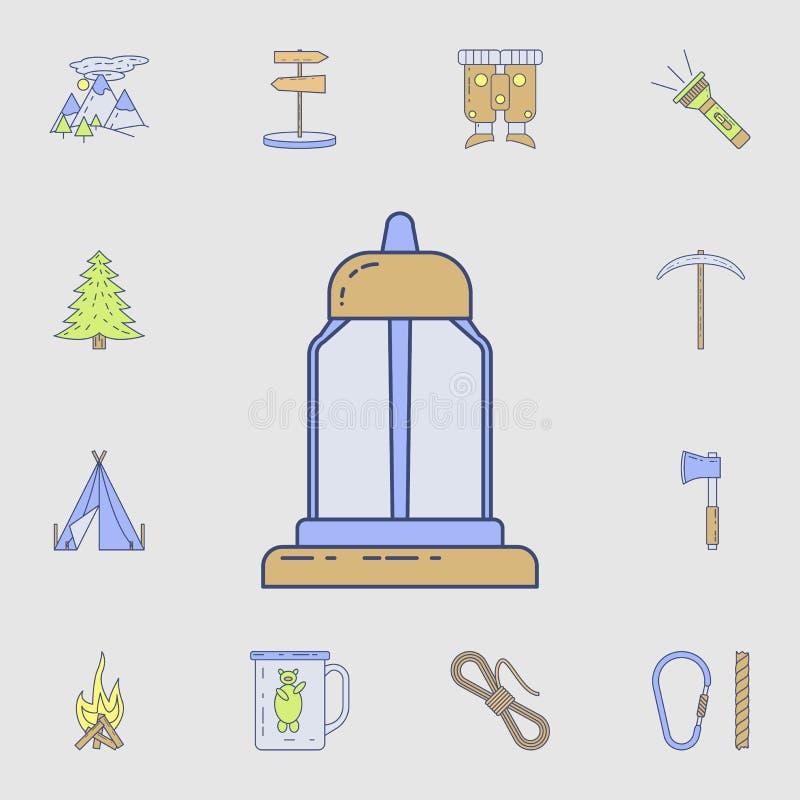 Значок лампы керосина Детальный набор значков инструмента цвета располагаясь лагерем Наградной графический дизайн Один из значков иллюстрация вектора