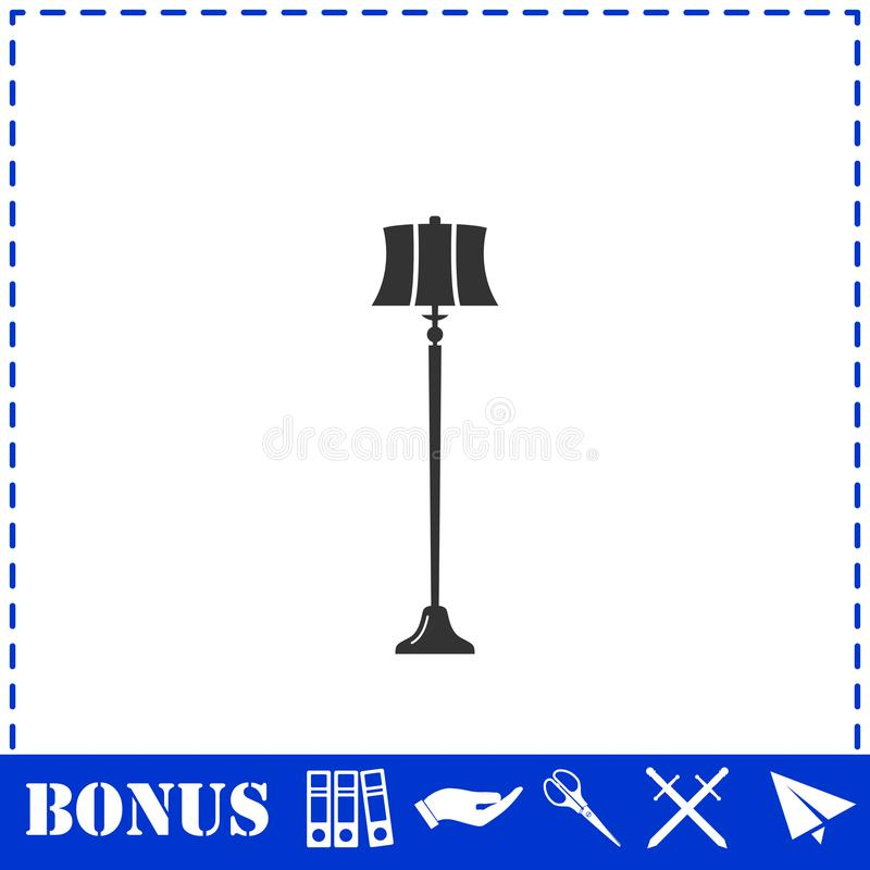Значок лампы пола плоско иллюстрация вектора