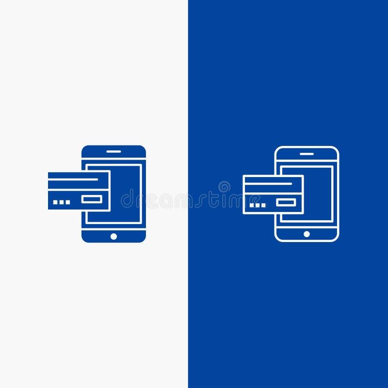 Значок линии и глифа знамени твердого значка оплаты, банка, банка, карты, кредита, черни, денег, линии смартфона и глифа голубой  бесплатная иллюстрация