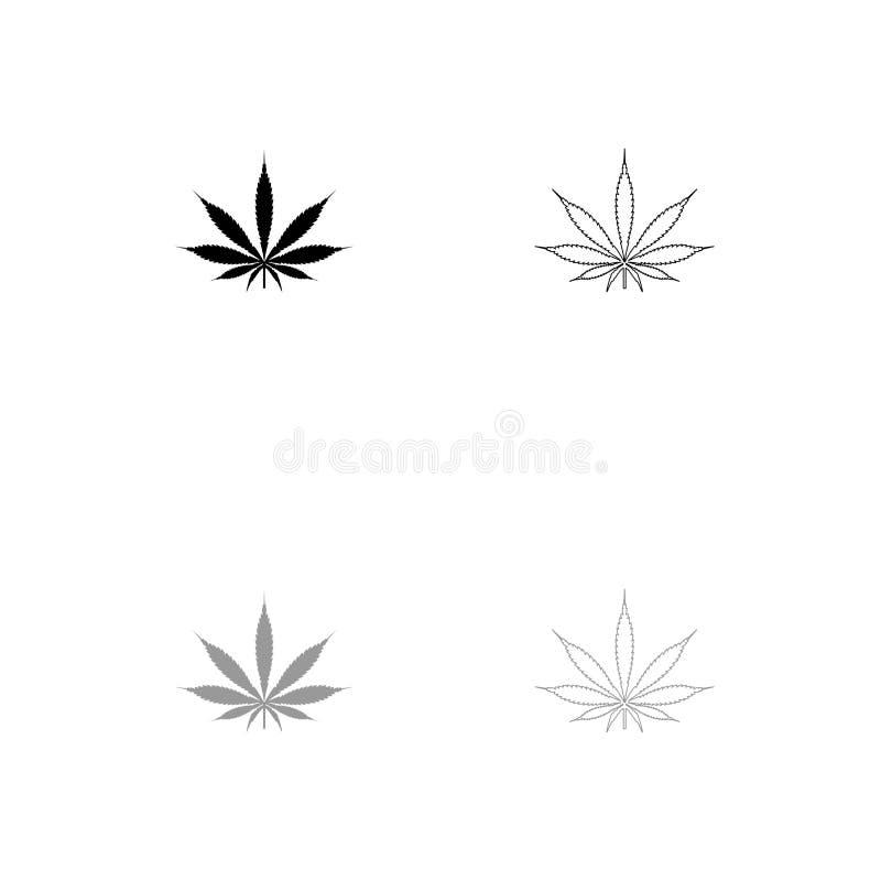 Значок лист марихуаны конопли черный и серый комплекта иллюстрация штока