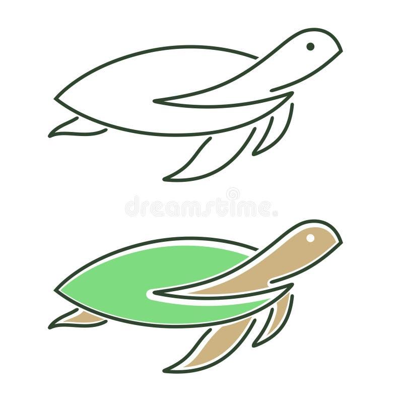 Значок лист черепахи установленный стоковые фотографии rf