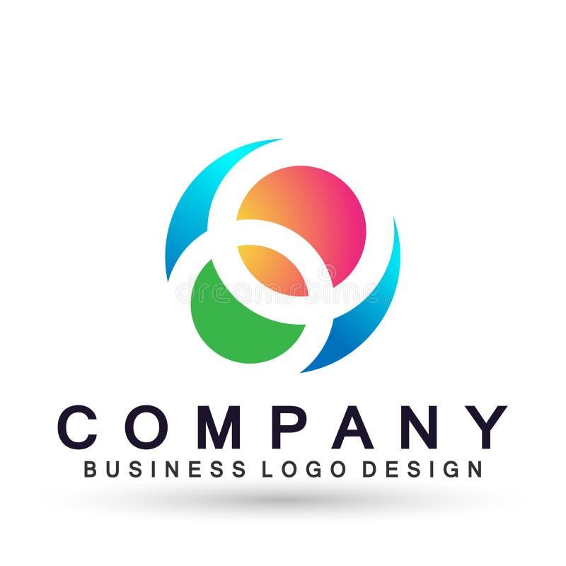 Значок логотипа дела компании глобуса, соединение на корпоративном инвестирует дизайн логотипа дела Финансовые инвестиции на бело иллюстрация вектора