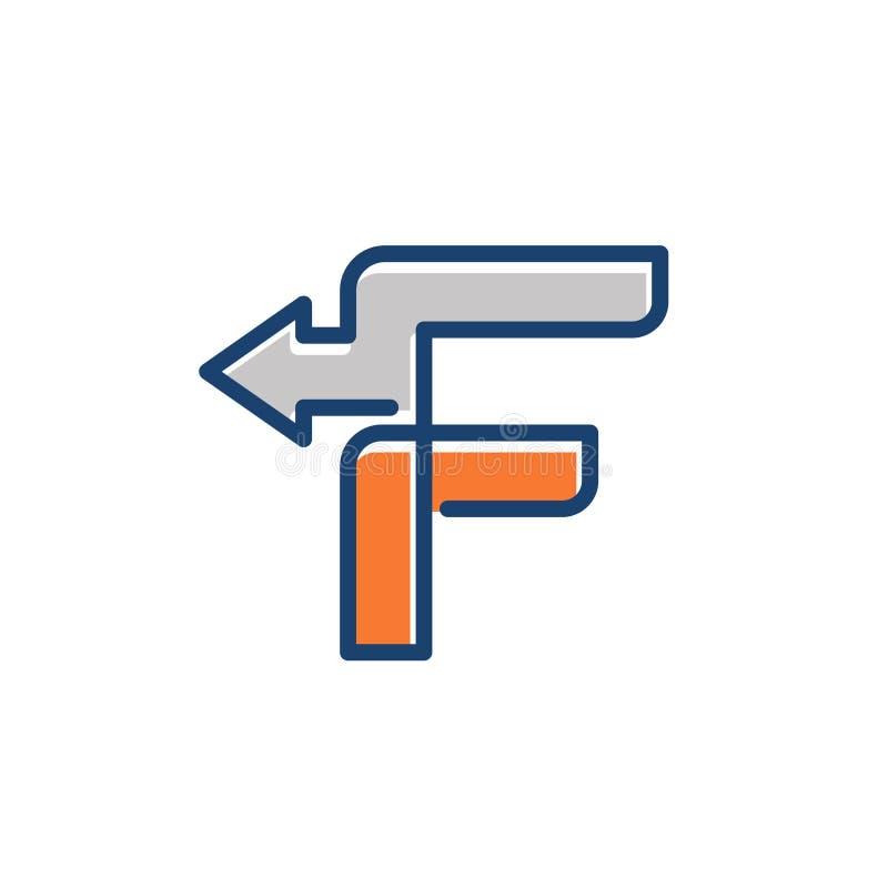 Значок логотипа дела пути стрелки письма f плана иллюстрация вектора