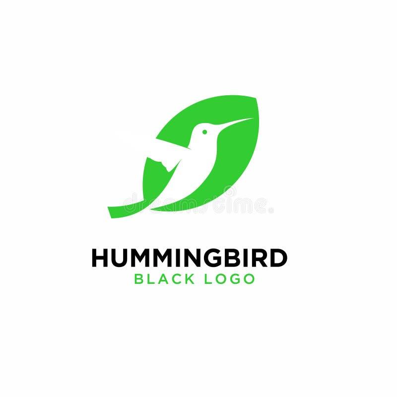 Значок логотипа лист зеленого цвета колибри конструирует иллюстрацию вектора иллюстрация вектора