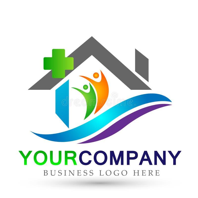 Значок логотипа людей дома компании недвижимости конспекта медицинский перекрестный домашний на белой предпосылке иллюстрация вектора