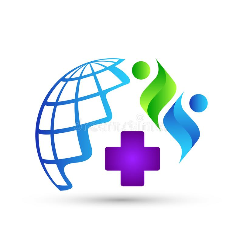 Значок логотипа людей медицинского обслуживания глобуса на белой предпосылке иллюстрация штока