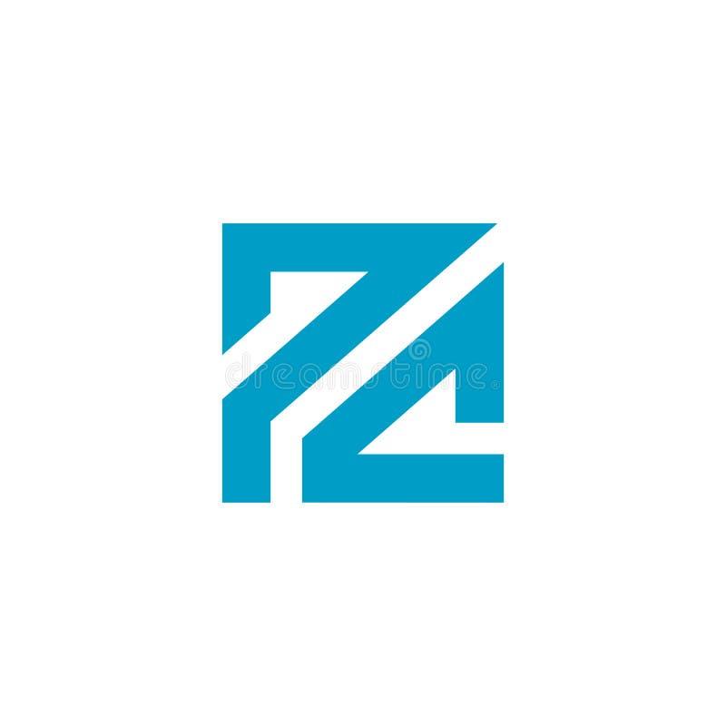 Значок логотипа ПК основанный письмом Голубой дизайн цвета Алфавит вензеля квадратный r иллюстрация вектора