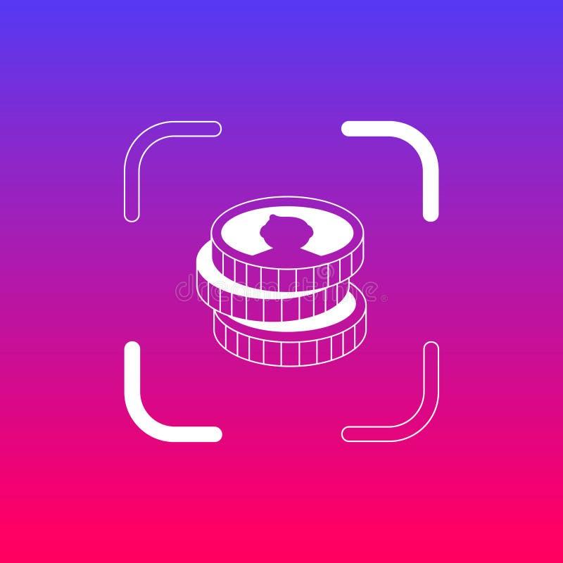 Значок/логотип монеток денег Иллюстрация искусства иллюстрация вектора