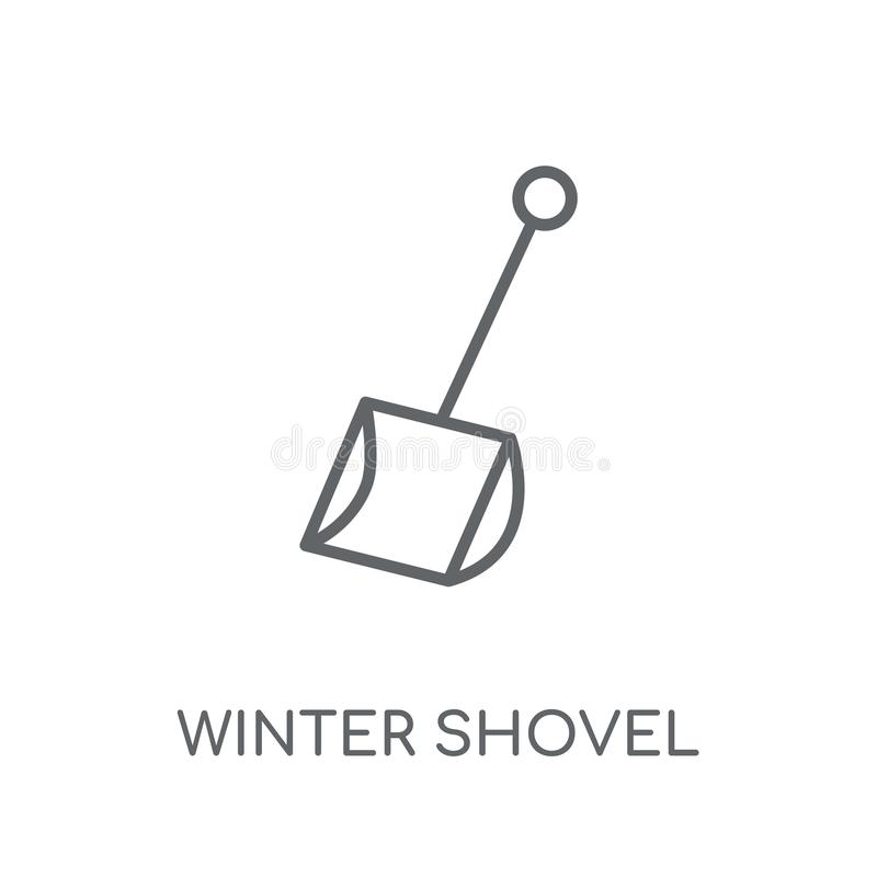 значок лопаткоулавливателя зимы линейный Современный жулик логотипа лопаткоулавливателя зимы плана иллюстрация штока