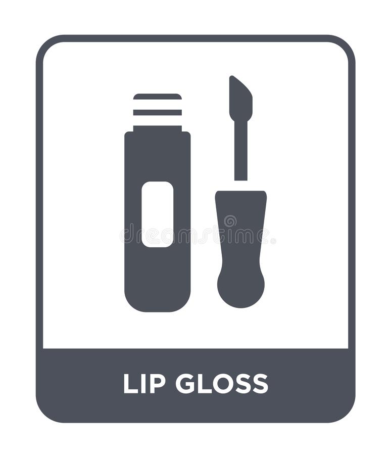 значок лоска губы в ультрамодном стиле дизайна значок лоска губы изолированный на белой предпосылке квартира значка вектора лоска иллюстрация штока