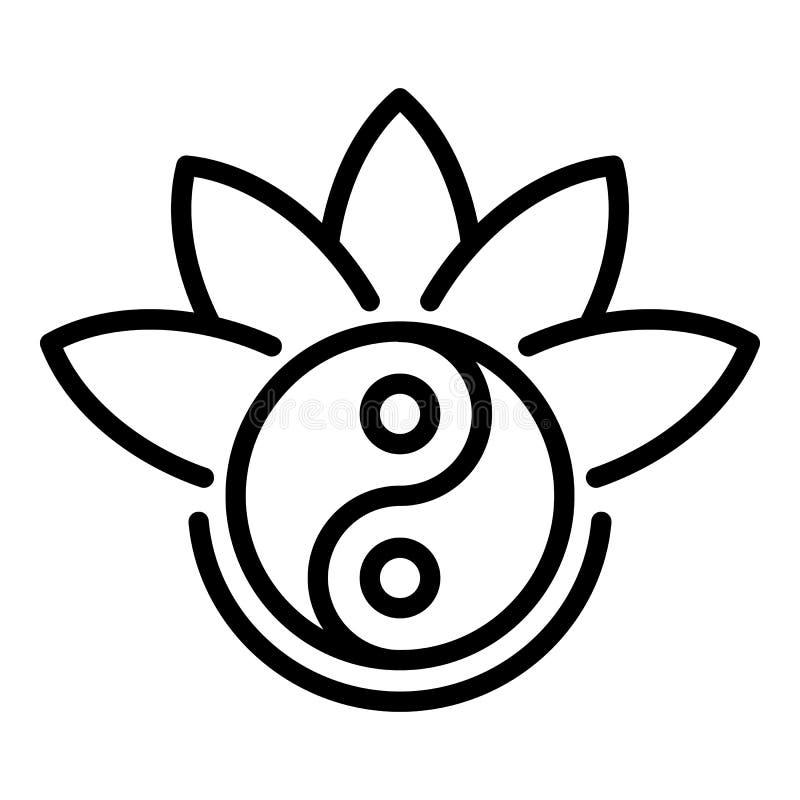 Значок лотоса Yin yang, стиль плана иллюстрация штока
