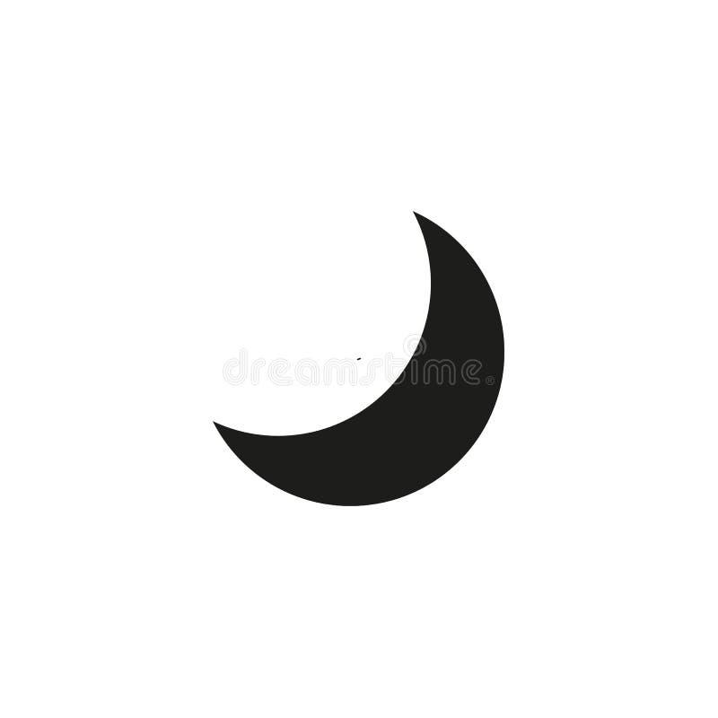 Значок луны, иллюстрация вектора Плоско вниз стиль Иллюстрация значка луны вектора изолированная на белой предпосылке, луне иллюстрация штока