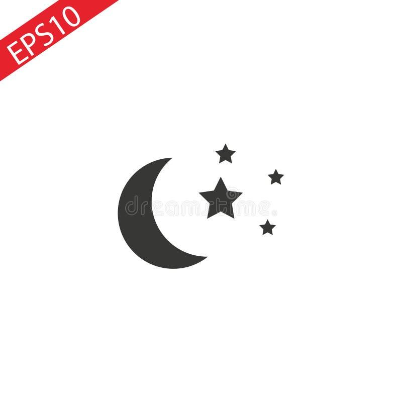 Значок луны и звезд Плоская иллюстрация вектора в черным по белому предпосылке EPS10 бесплатная иллюстрация