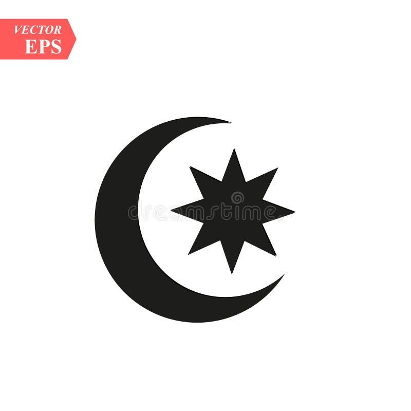 Значок луны и звезд Плоская иллюстрация вектора в черным по белому предпосылке 10 eps иллюстрация штока