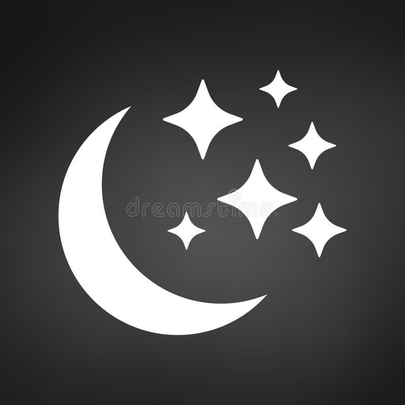 Значок луны и звезд Плоская иллюстрация вектора изолированная на предпосылке иллюстрация вектора