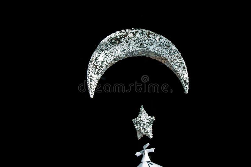 Значок луны металла исламский серповидный стоковые изображения rf