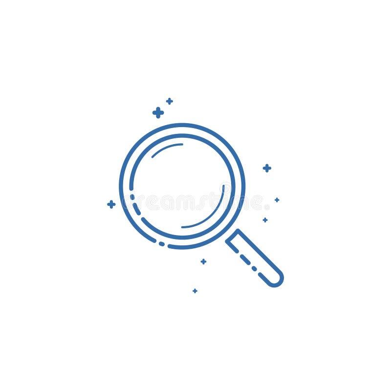 Значок лупы Дизайн иллюстрации вектора плоско линейный бесплатная иллюстрация