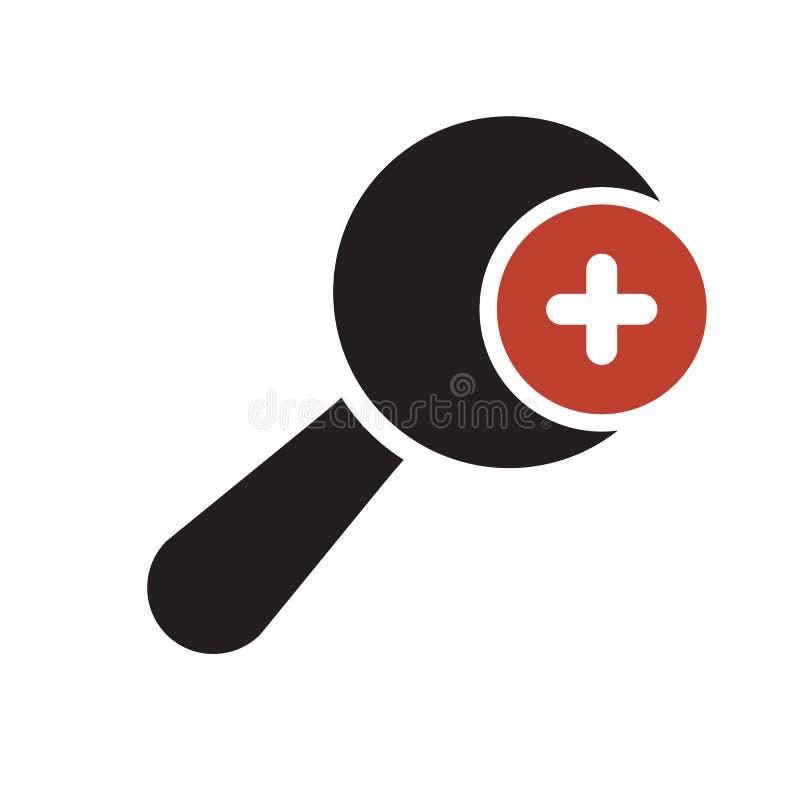 Значок лупы, значок инструментов и утварей с добавляют знак Значок лупы и новый, добавочный, положительный символ иллюстрация вектора