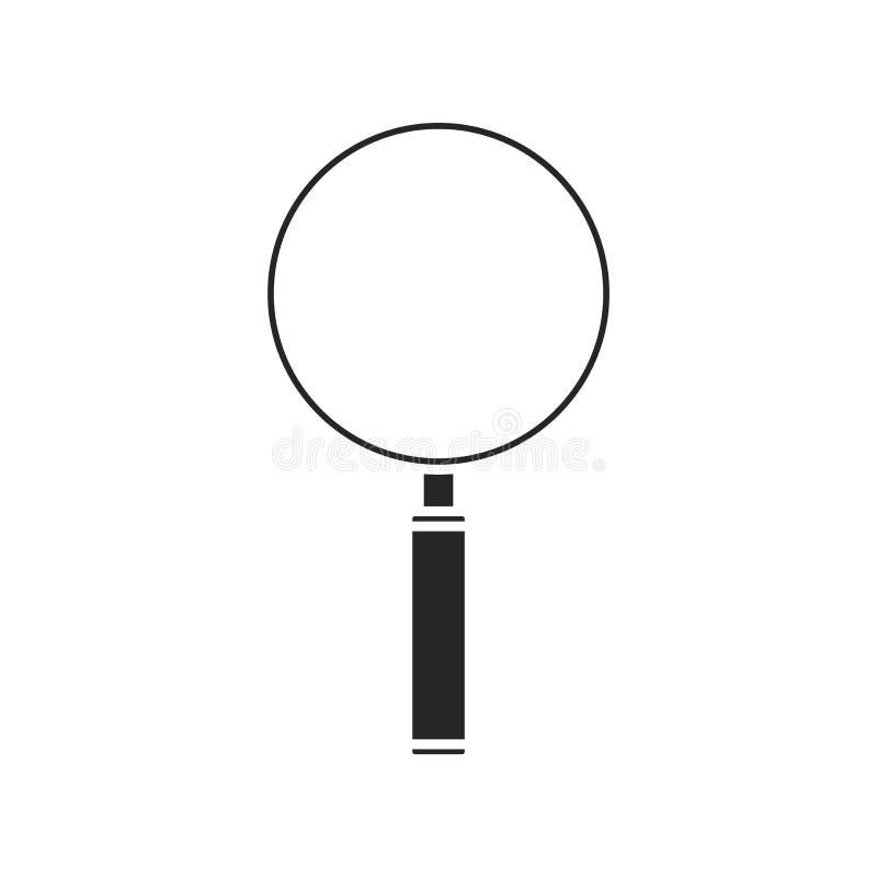 Значок лупы на белой предпосылке, для любого случая иллюстрация вектора