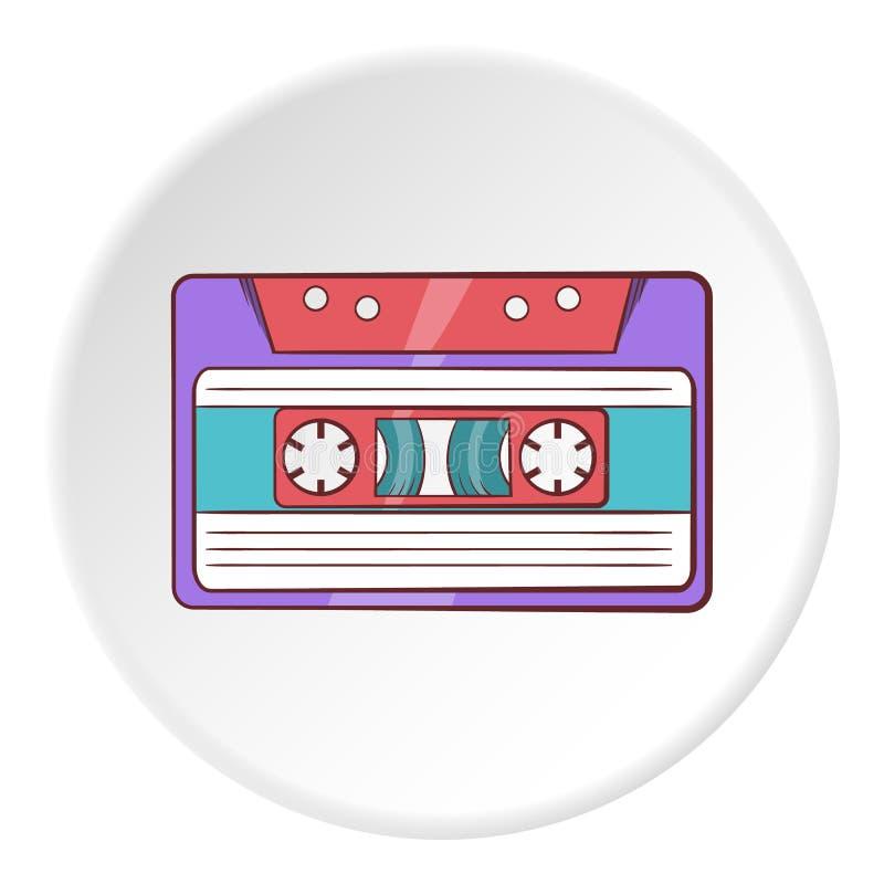Значок магнитофонной кассеты, стиль шаржа иллюстрация штока