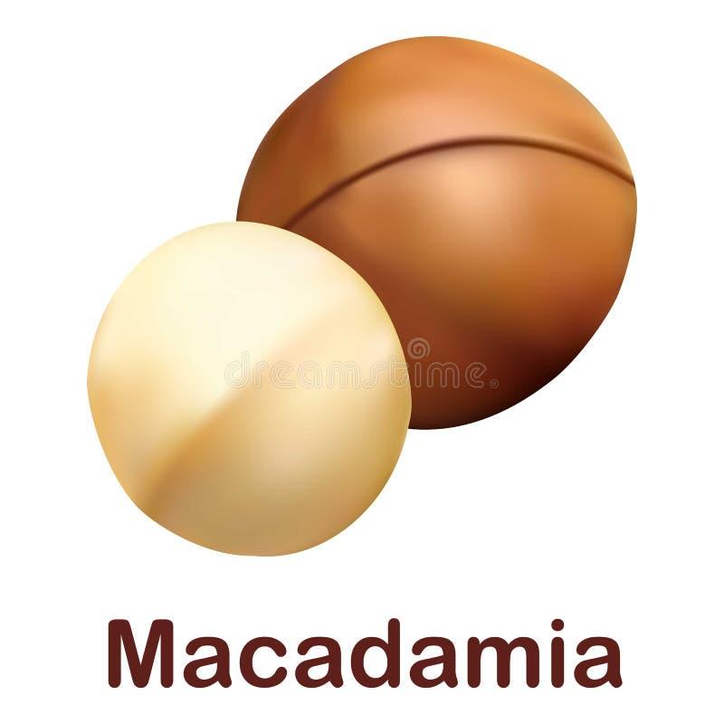 Значок макадамии, реалистический стиль иллюстрация вектора