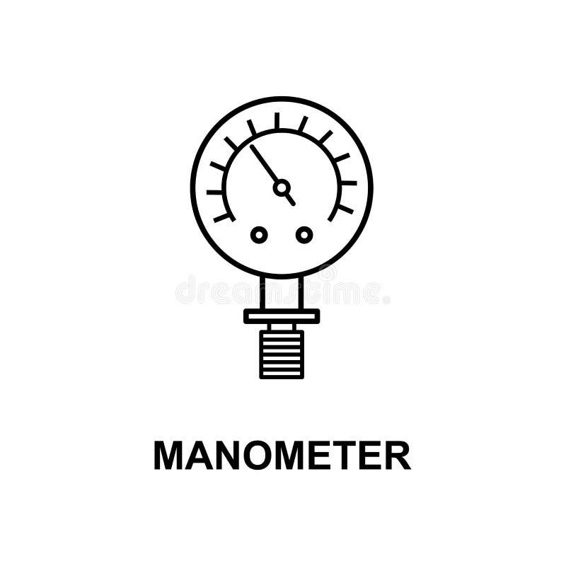 Значок манометра Элемент значка измеряя аппаратур с именем для передвижных apps концепции и сети Тонкая линия значок манометра мо бесплатная иллюстрация