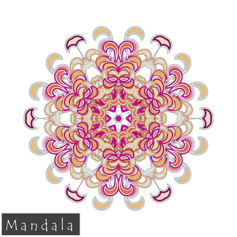 Значок мандалы цветка вектора изолированный на белизне стоковые изображения