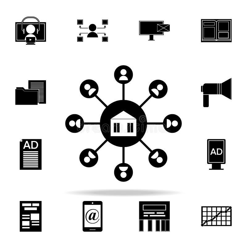 значок маркетинга присоединенного филиала Комплект значков маркетинга цифров всеобщий для сети и черни бесплатная иллюстрация