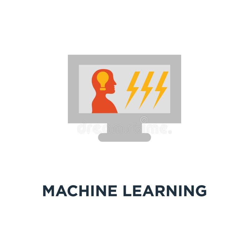 Значок машинного обучения дизайн символа концепции искусственного интеллекта, творческая мысль, дистанционное обучение, онлайн уч бесплатная иллюстрация