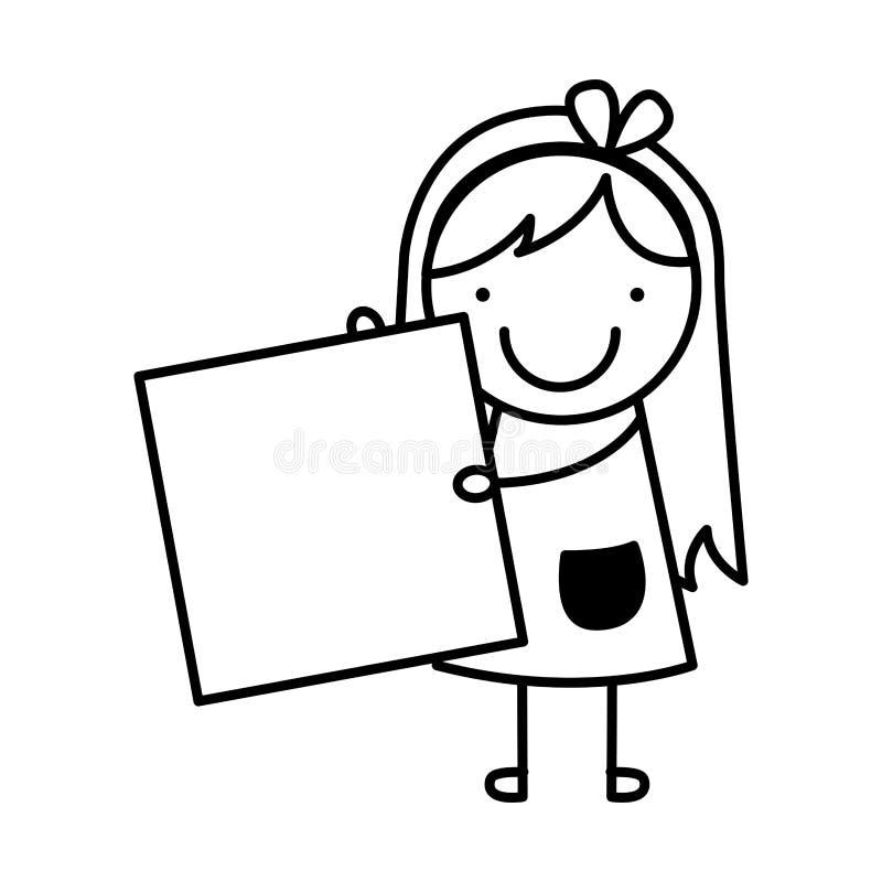 Значок маленькой девочки изолированный чертежом бесплатная иллюстрация