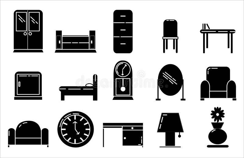 Значок мебели установил стиль дизайна твердый бесплатная иллюстрация