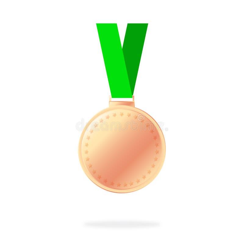 Значок медали Элегантный бронзовый ярлык с звездами Символ для вашего дизайна вебсайта, логотип бронзовой медали, app, UI Медаль  бесплатная иллюстрация