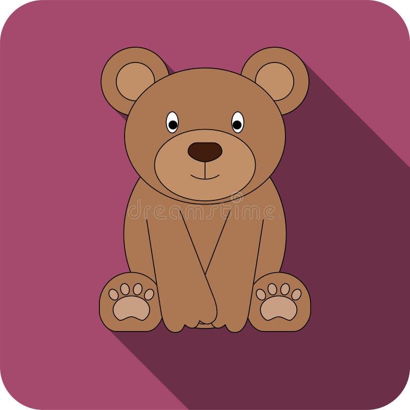 Значок медведя вектора плоский стоковые изображения