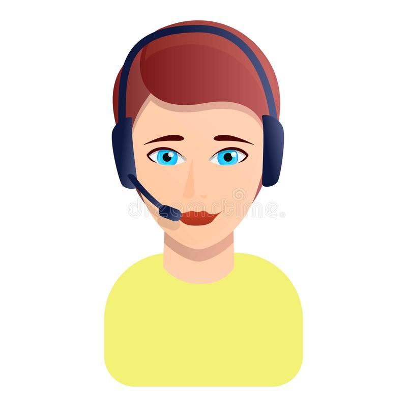 Значок менеджера центра телефонного обслуживания женщины, стиль мультфильма иллюстрация вектора