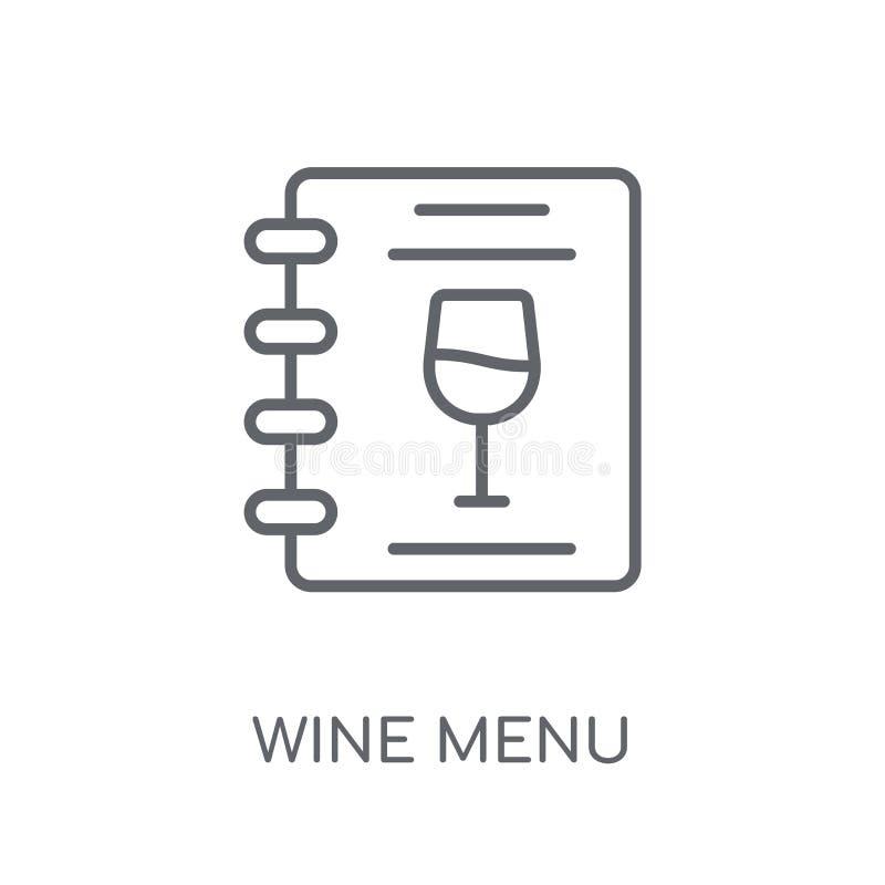 Значок меню вина линейный Современная концепция логотипа меню вина плана дальше иллюстрация вектора