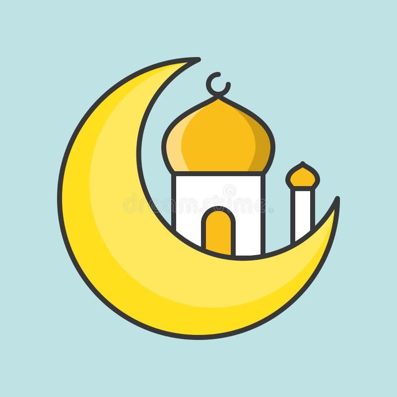 Значок мечети и луны иллюстрация штока