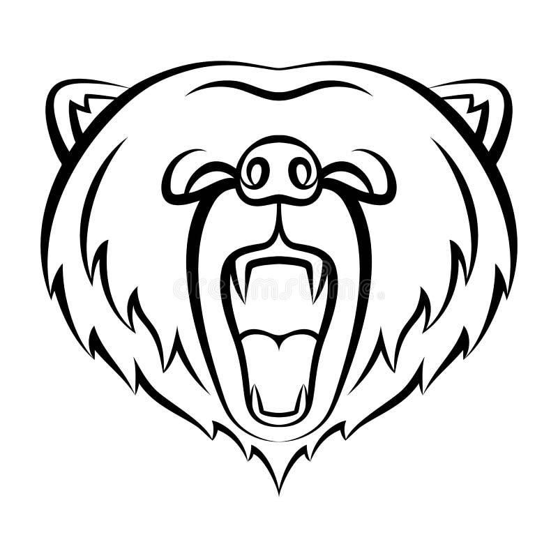 Значок медведя реветь изолированный на белой предпосылке иллюстрация вектора
