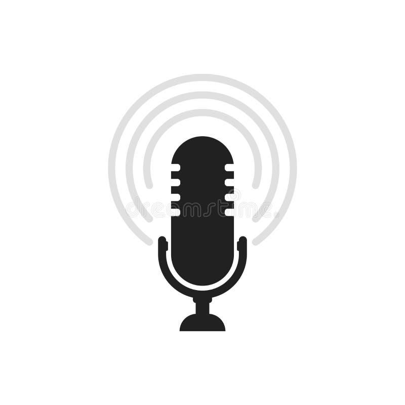 Значок микрофона Вектор диктора Ядровый знак изолированный на белой предпосылке Простая иллюстрация для сети и мобильных платформ иллюстрация вектора