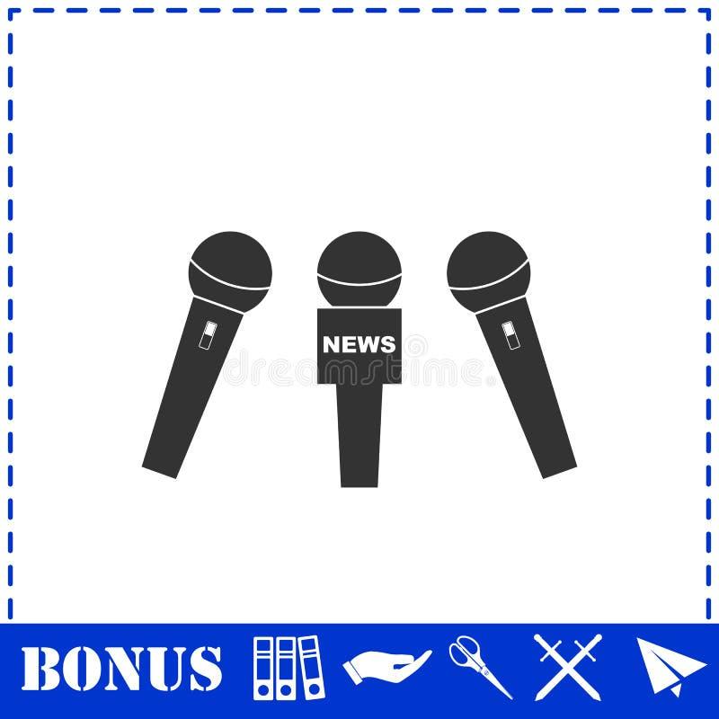 Значок микрофона новостей плоско бесплатная иллюстрация