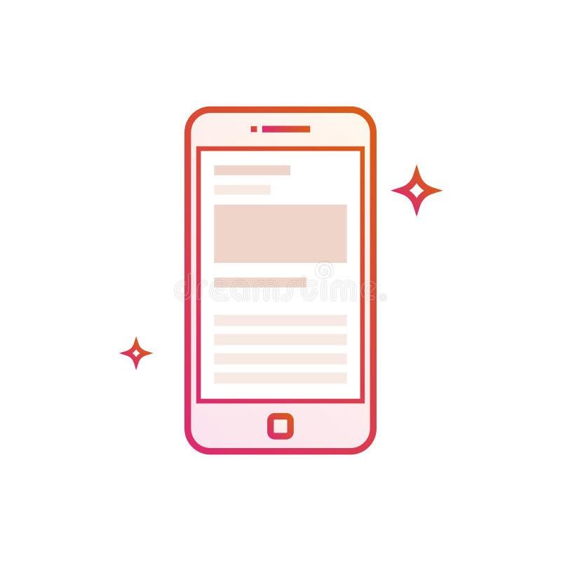 Значок мобильного телефона или smartphone Линия иллюстрация градиента вектора на белой предпосылке иллюстрация штока