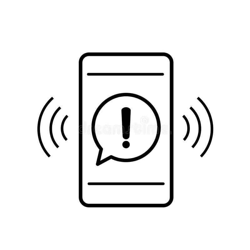 Значок мобильного телефона с вниманием предупреждения опасности подписывает в пузыре речи иллюстрация вектора